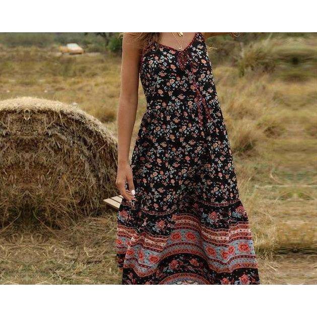 Musho Station:Floral Print Long Dress Vintage Maxi Slip Dress,,Musho Station,Musho Station