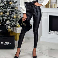 Musho Station:Gold Black Belt High Waist Pencil Leather PU Sashes Long Trousers,