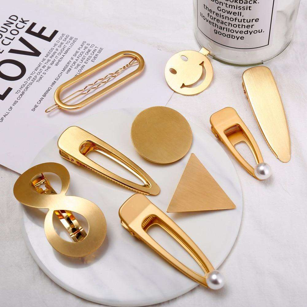 Musho Station:Gold Silver Color Hairpin For Women Punk Geometric Infinite Hair Clips Hair wear Fashion Jewelry Accessories,