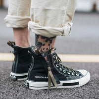 Musho Station:High Top Canvas Shoes Men Sneakers Lace-up with Side Zipper Classic Retro Style,
