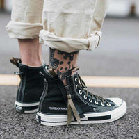 Musho Station:High Top Canvas Shoes Men Sneakers Lace-up with Side Zipper Classic Retro Style,,Musho Station,Musho Station