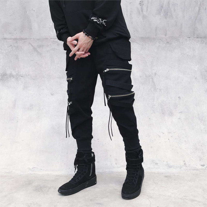 Musho Station:Hip Hop Streetwear Joggers Men Black Zipper Ribbon Harem Pants Cotton Casual Slim Street Style Ankle Length Sweatpants Men,
