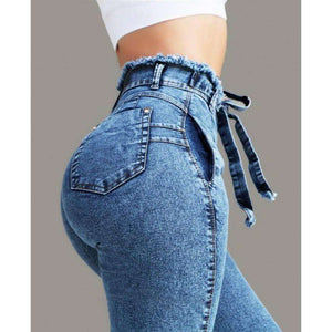 Musho Station:Hole Ripped Denim Vintage Jeans,