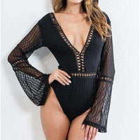 Musho Station:Hollow Out Lace Stitching Knitted Line Flare Long Sleeve Bodysuits,,Musho Station,Musho Station