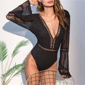 Musho Station:Hollow Out Lace Stitching Knitted Line Flare Long Sleeve Bodysuits,