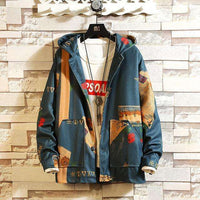 Musho Station:Hooded Jackets Streetwear With Print Windbreaker Jackets & Coats,,Musho Station,Musho Station