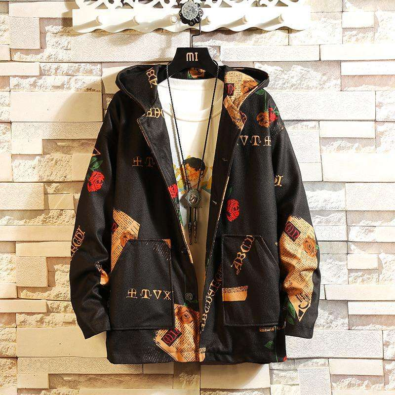 Musho Station:Hooded Jackets Streetwear With Print Windbreaker Jackets & Coats,