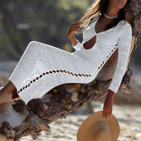 Musho Station:Knitted hollow out long deep v-neck beach dress,,Musho Station,Musho Station