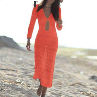 Musho Station:Knitted hollow out long deep v-neck beach dress,