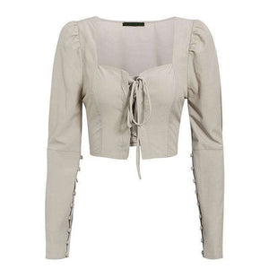 Musho Station:Lace Up Button Vintage Puff Sleeve Solid Ladies Blouse,