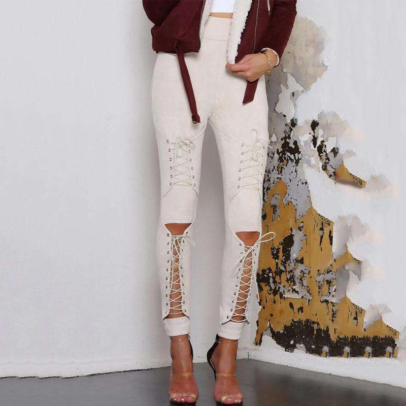 Musho Station:Lace Up Faux Suede Stretch Body-con Pencil Pants Hollow Out,