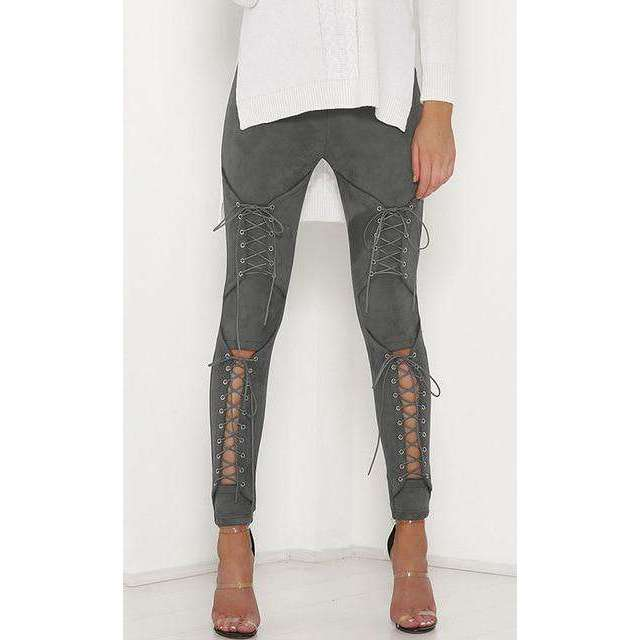 Musho Station:Lace Up Faux Suede Stretch Body-con Pencil Pants Hollow Out,,Musho Station,Musho Station