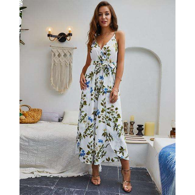 Musho Station:Lace Up Floral Print Casual Loose Style Wide Leg Jumpsuits,,Musho Station,Musho Station