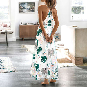 Musho Station:Leafy Print V neck Long Maxi Beach Slim Sleeveless Casual dress,