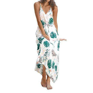 Musho Station:Leafy Print V neck Long Maxi Beach Slim Sleeveless Casual dress,,Musho Station,Musho Station