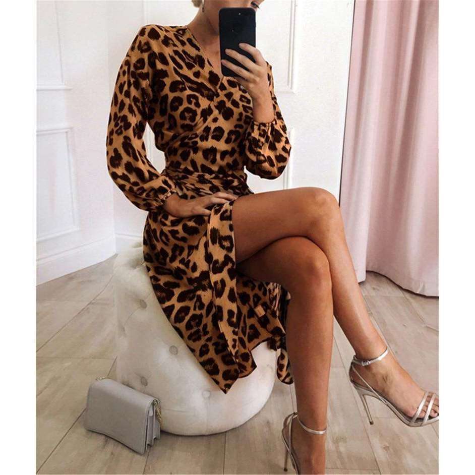 Musho Station:Leopard Chiffon Long Sleeve Deep V-neck A-line Dress,