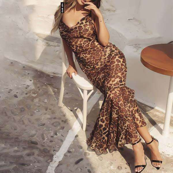 Musho Station:Leopard print women maxi beach vintage slim long causal dress,