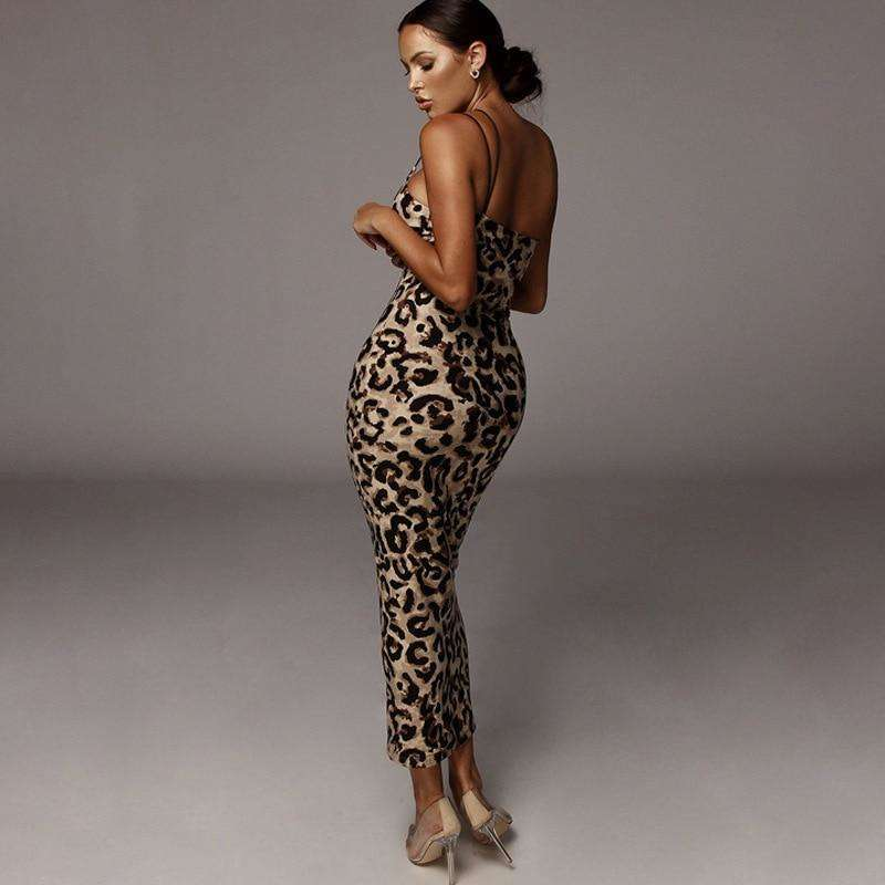 Musho Station:Leopard Snake Print Spaghetti Strap Bodycon Midi Dress,