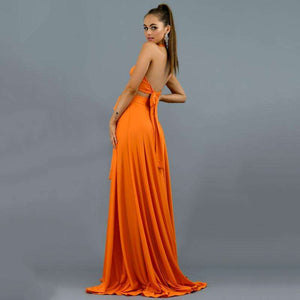 Musho Station:Long Bodycon Elegant Halter Maxi Dress,
