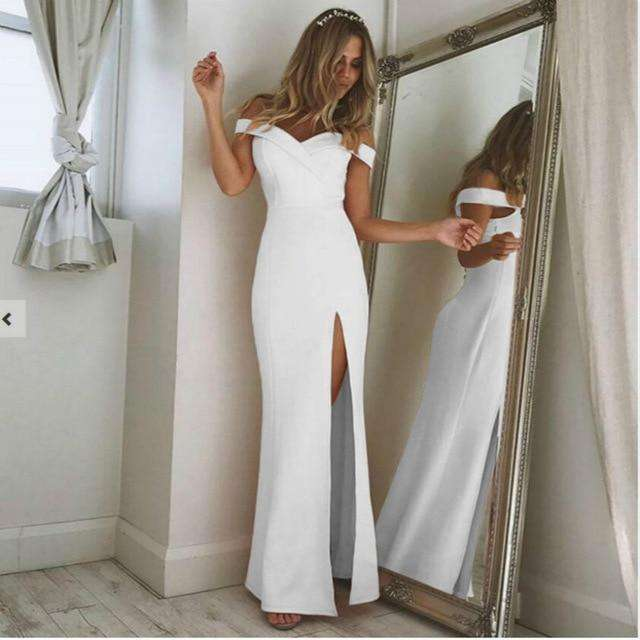 Musho Station:Long Dress Elegant Women Off-Shoulder Strapless Straight Party Dress,,Musho Station,Musho Station