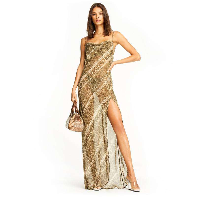 Musho Station:Long party dress snake print chiffon  strap backless see through slit elegant street wear,,Musho Station,Musho Station