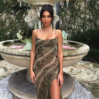 Musho Station:Long party dress snake print chiffon  strap backless see through slit elegant street wear,