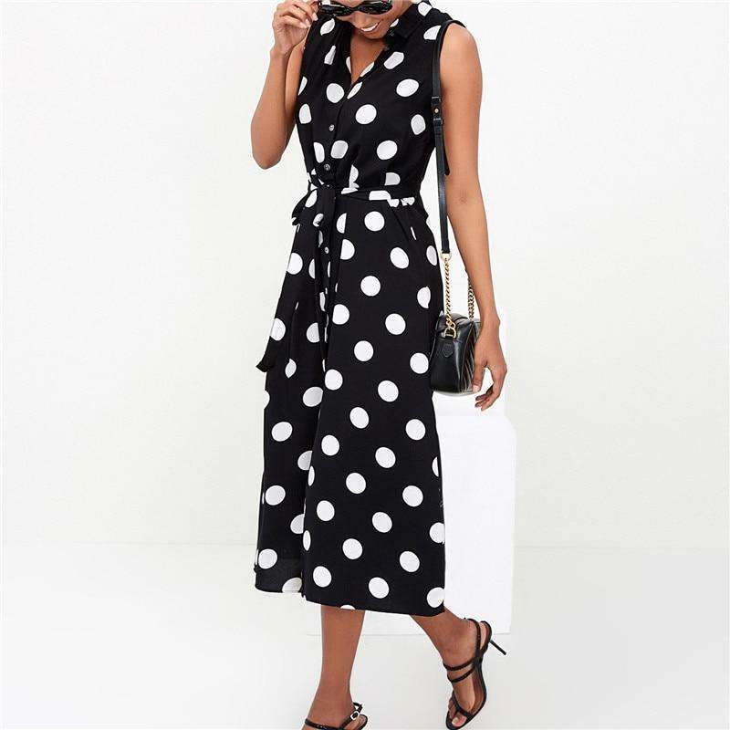 Musho Station:Long Polka Dot Beach Chiffon Boho Style Casual Dress,
