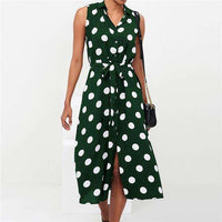 Musho Station:Long Polka Dot Beach Chiffon Boho Style Casual Dress,,Musho Station,Musho Station
