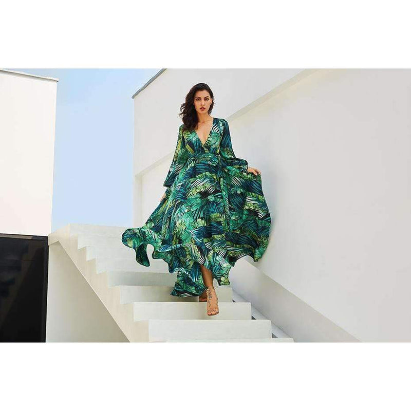 Musho Station:Long Sleeve Green Tropical Boho Vintage Dresses,