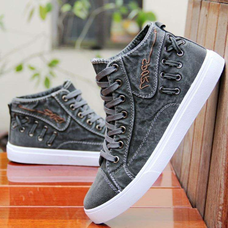 Musho Station:Men Denim Casual Sneakers Breathable Shoes,