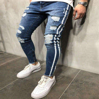 Musho Station:Men Skinny Jeans Biker Destroyed Frayed Fit Ripped Denim With Side Stripe Pencil Pants Hip Hop Streetwear,