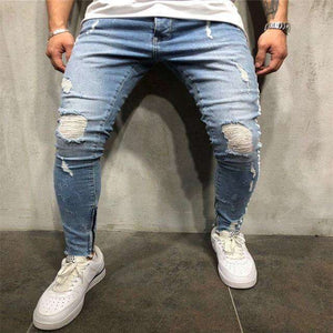 Musho Station:Men Skinny Jeans Biker Destroyed Frayed Fit Ripped Denim With Side Stripe Pencil Pants Hip Hop Streetwear,,Musho Station,Musho Station