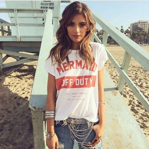 Musho Station:Mermaid Off Duty Letters Printed t-shirts,