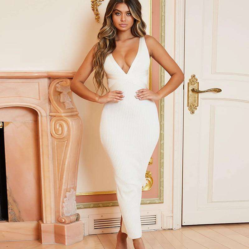 Musho Station:Midi Pencil Elegant Spaghetti Strap Bandage Backless Dress,