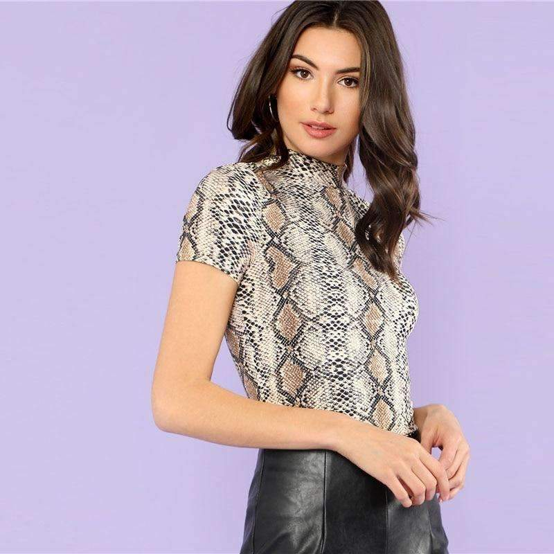 Musho Station:Mock Neck Snake Print Casual Tee,