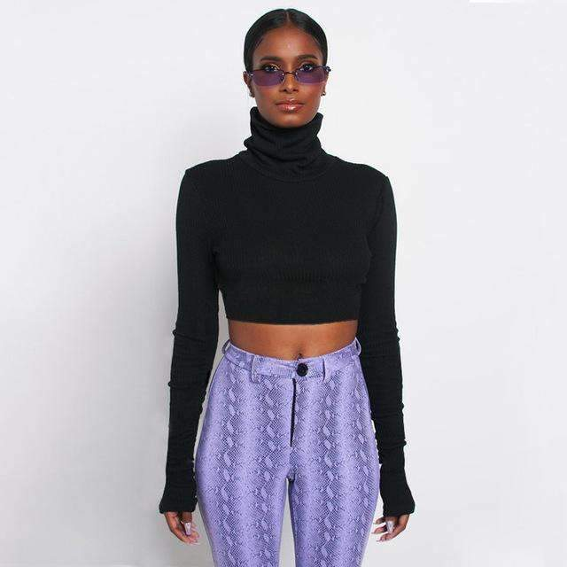 Musho Station:Neon Color Turtleneck Crop Top Long Sleeve Shirt,,Musho Station,Musho Station