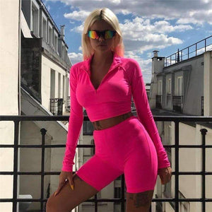Musho Station:Neon Color Two Piece Set Women Long Sleeve Zipper Front Crop Tops And Shorts Tracksuit,