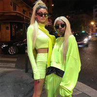 Musho Station:Neon Color Two Piece Set Women Long Sleeve Zipper Front Crop Tops And Shorts Tracksuit,,Musho Station,Musho Station
