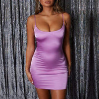 Musho Station:Neon Stretch Satin Mini Straps Slim Fit Body-con Party Dress,,Musho Station,Musho Station