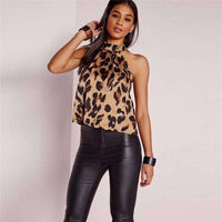 Musho Station:Off Shoulder Leopard Blouse Chiffon Animal Print Backless Sleeveless Women Tops,