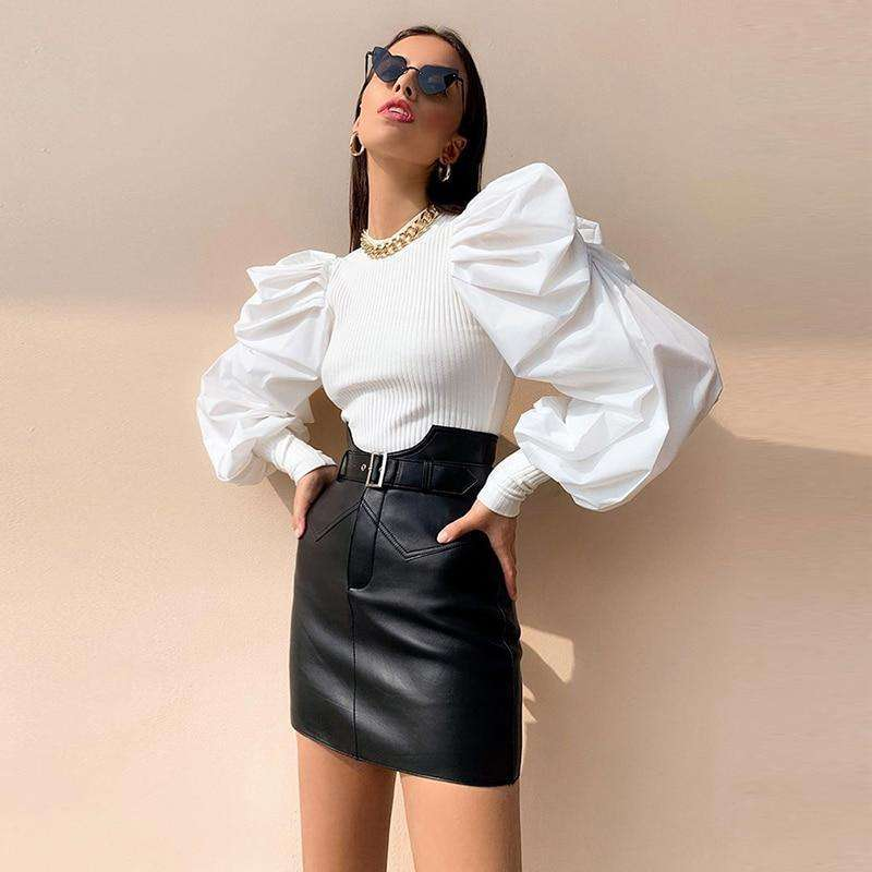 Musho Station:Ruffles knitted long sleeve elegant body-con top,
