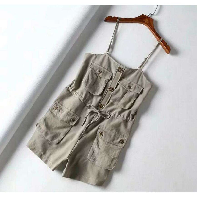 Musho Station:Safari Style Spaghetti Strap Jumpsuit Open Button Lacing up Bow Waist Short Pants Romper,,Musho Station,Musho Station