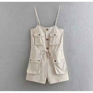 Musho Station:Safari Style Spaghetti Strap Jumpsuit Open Button Lacing up Bow Waist Short Pants Romper,