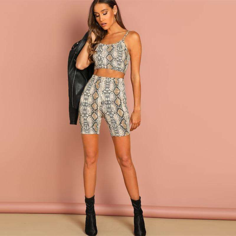 Musho Station:Scoop Neck Animal Snake Skin Print Crop Top and Shorts Leggings Two Piece Set,