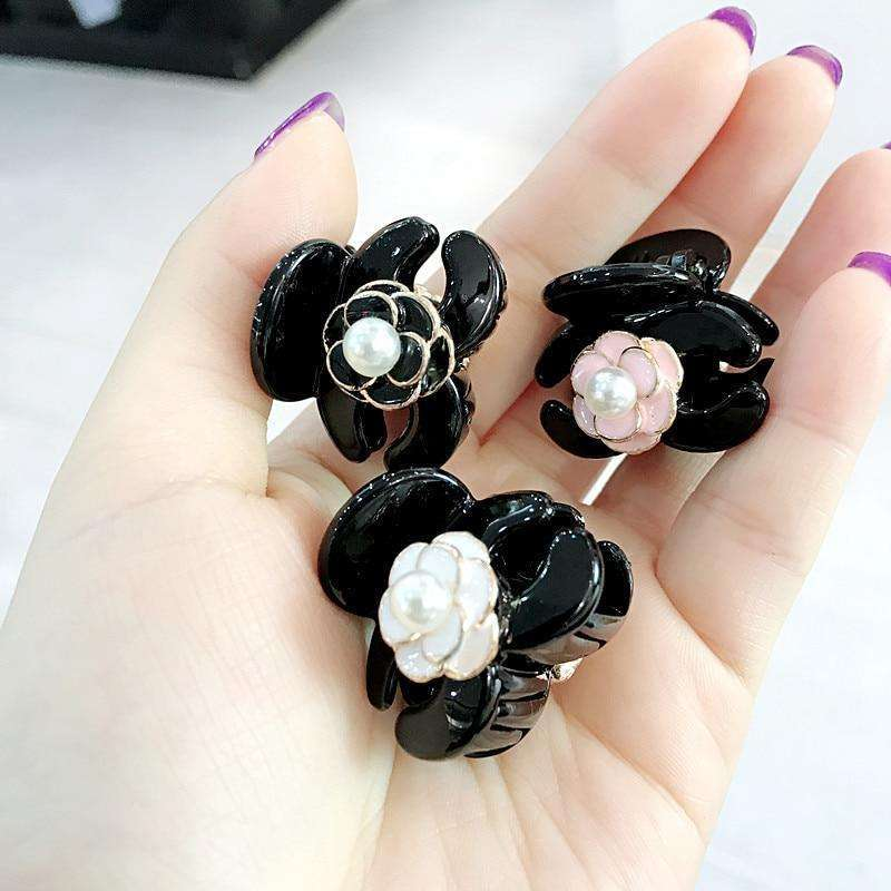 Musho Station:Simple Mini Small Hair Pins Floral Camellia Imitation Pearl Hair Clips for Women,