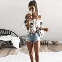 Musho Station:Slash neck Off Shoulder Beach Casual Print T-shirts Crop Top,
