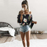 Musho Station:Slash neck Off Shoulder Beach Casual Print T-shirts Crop Top,,Musho Station,Musho Station