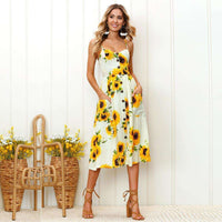 Musho Station:Sleeveless v neck spaghetti straps Vintage Boho Maxi Floral  Chiffon Dress,