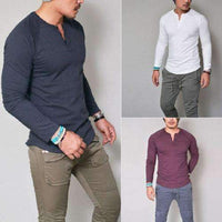 Musho Station:Slim Fit Long Sleeve Stylish V Neck Cotton Shirt,