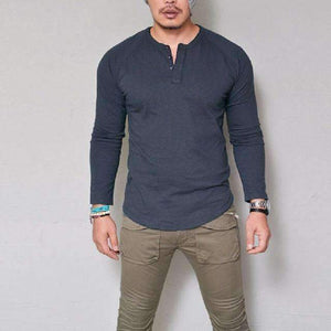 Musho Station:Slim Fit Long Sleeve Stylish V Neck Cotton Shirt,,Musho Station,Musho Station